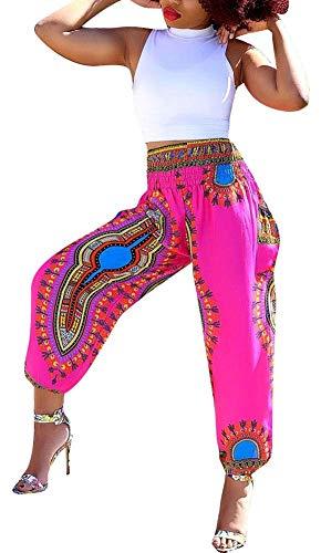 Womens African Dashiki Totem Boho Floral Casual Loose Harem Hippie Lounge Pants Rose Pink -