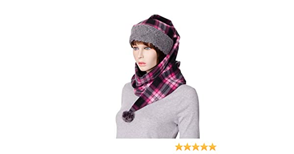 e2b0d4f2eac09f Amazon.com: Stocking Cap Long Pink Plaid Wrap Around with Pompom Fleece Gray  Sherpa Scarf Hat: Handmade