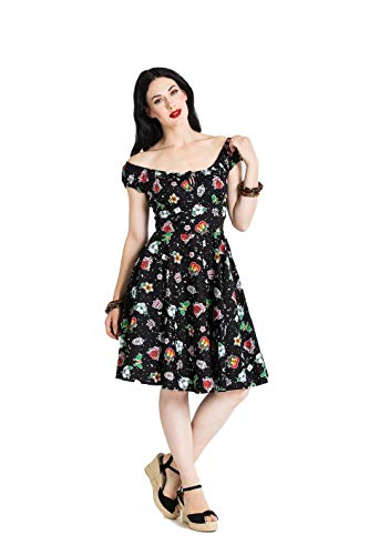 Hell Bunny Lovebirds Rockabilly Vintage Retro 50s Dress - Black (XL) - Heart Rose Tattoo Dress