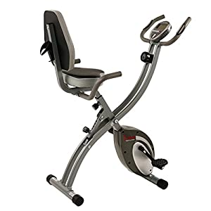 Sunny Health & Fitness Folding Exercise Bike with Magnetic Semi Recumbent Upright High Weight Capacity and Pulse Monitoring - SF-B2721 Comfort XL by Sunny Distributor Inc.