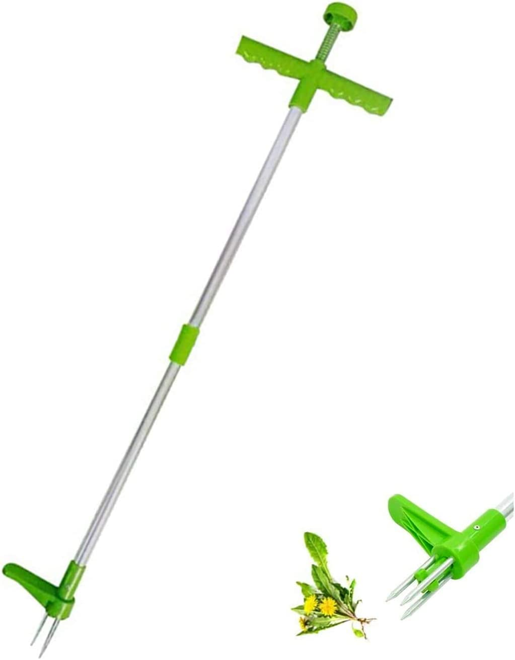 MBVBN Weed Puller, Stand Up Weeder Hand Tool, Long Handle Garden Weeding Tool with 3 Claws, Hand Weed Hound Weed Puller for Dandelion, Standup Weed Root Pulling Tool and Picker, Grabber 1 Pack