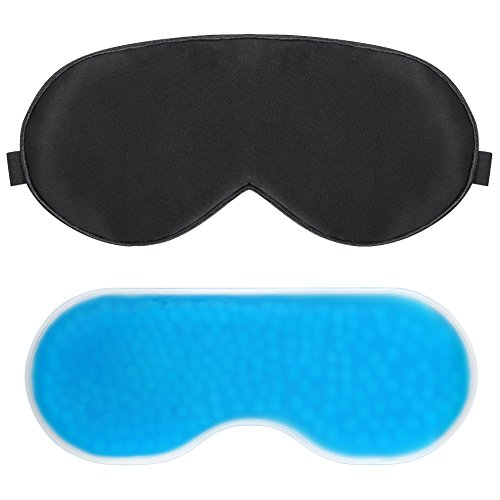 PLEMO Sleep Mask, Gel Pack Eye Shade Set, Hot & Cold Therapy for Insomnia, Swollen Puffy Eyes & Dark Circles (Puffy Inserts)