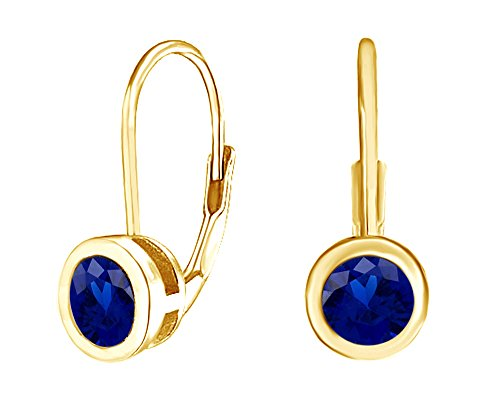 Simulated Blue Sapphire Solitaire Leverback Drop Earrings 14K Yellow Gold Over Sterling Silver