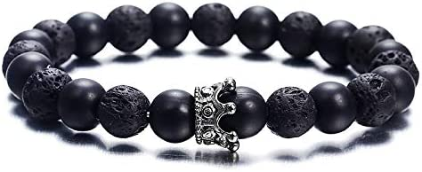 Speverdr Frosted Obsidian Crown Bracelet Adjustable Beaded Bracelets Couple Stretch Bracelet Jewelry for Womens and Mens