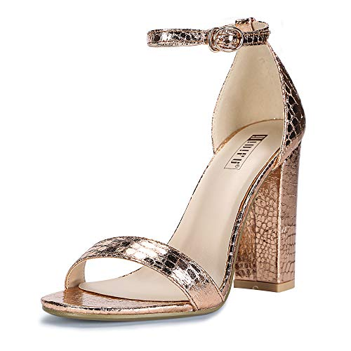 IDIFU Women's IN4 Cookie-HI Open Toe High Chunky Block Heel Pump Sandal (Champagne, 7 B(M) US)