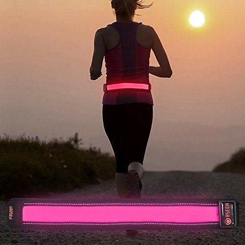 Bseen USB Rechargeable Belt - LED Reflective Waist Belt for Running, Walking, Jogging & Cycling - LED Running Belt Fits for Women, Men & Kids - Reflective Strip - Fully - Gifts Running Women For