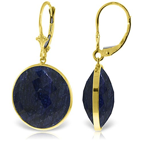 14K Solid Gold Leverback Earrings with Checkerboard Cut Round Sapphires