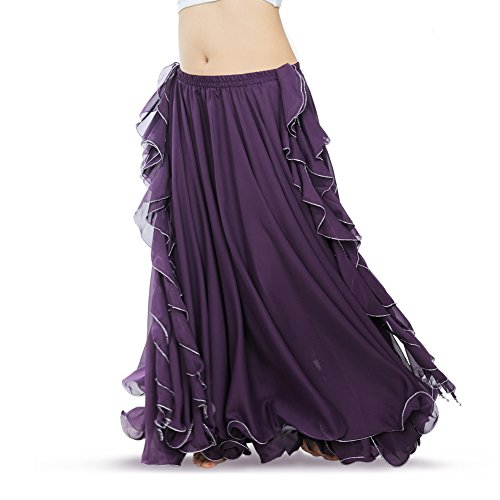 ROYAL SMEELA Women's Belly Dance Chiffon Skirt ATS Voile Maxi Full Dress Bellydance Skirts Purple One -
