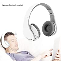 GOTOTOP Wireless Bluetooth Headphone, Professional Foldable Gaming Headset HiFi Stereo Earphone with Valuable Accessories for PS4 Laptop PC Mobile Phone(White)(White)
