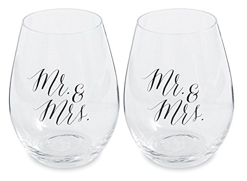 Wedding Stemless Wine Glasses Set of 2 /& Mrs Black Cursive Mr