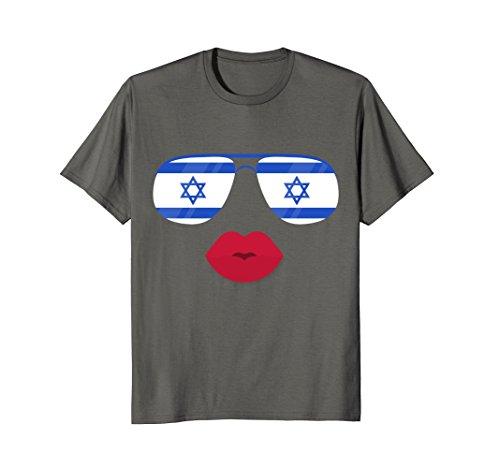 Mens Flag Israel Sunglasses & Lips T-shirt Funny Israeli Top Tee 3XL - Israel Sunglasses
