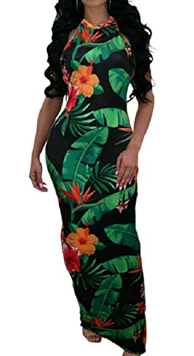 Coolred-femmes Sans Dossier Imprimé Sans Manches Licol Moulante Sexy Robe Longue Pattern4