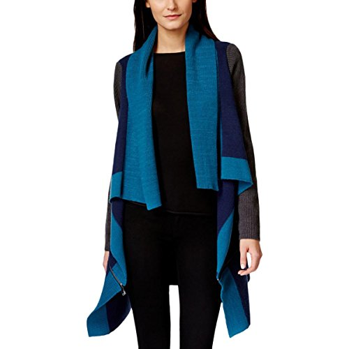 Boho-Chic Vacation & Fall Looks - Standard & Plus Size Styless - Calvin Klein Jeans Women's Colorblocked Poncho, Night Sky, Large
