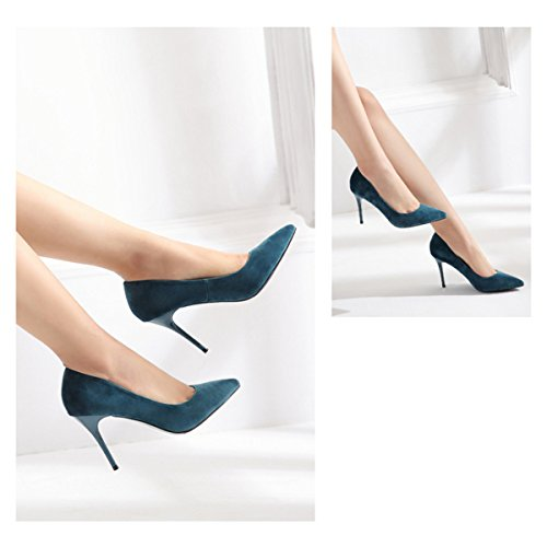 Scarpe Da Corte Donna Primavera Estate Scarpe Da Donna Scarpe A Punta Tacchi Alti Scarpe Eleganti Eleganti Tacco Sottile Bocca Superficiale Scarpe Singole Verde (9cm)