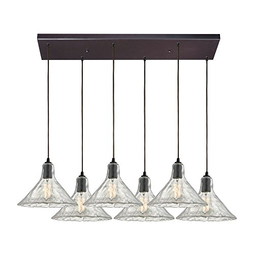 picture of Elk Lighting 10435/6RC Hand Formed Glass - Six Light Pendant, Oil Rubbed Bronze Finish