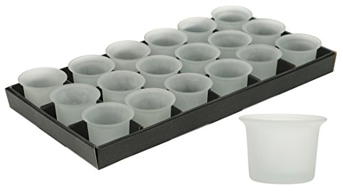 Hosley Set of 48 Frosted White Oyster Cup Glass Tea Light LED Holders - 2.5