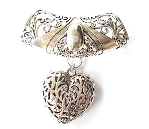 Fashion Scarf Jewelry Necklace Large Floral Bail W Heart Shape Pendant ()