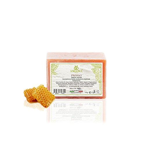 ANGONA Sapone 100% Naturale Propoli 100g -Antibatterico, Anti-infiammatorio e Stimolante della circolazione- Prodotto Italiano lavorazione artigianale a temperatura bassa DONNA CHIC s.r.l