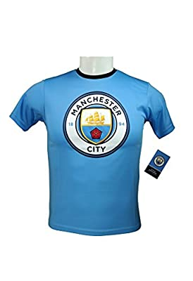 Manchester City F.C. Official Youth Soccer Training Performance Poly Jersey -Y003