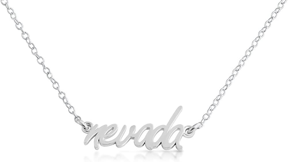Azaggi 925 Sterling Silver Necklace Script Word Nevada NV State American Charm Pendant Jump Ring Necklace .This 925 Sterling Silver Pendant Necklace is the Perfect Holiday Gift Jewelry Gift for Women