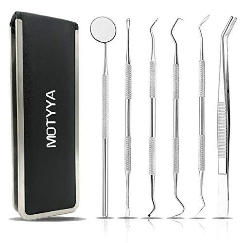 MOTYYA Dental Cleaning Tools Kit for Home Use to Remove Plaque, Professional teeth Hygienist tool set metal Stainless Steel Dental Pick Probe/Scaler,Anti Fog Mouth Mirror,Burnisher,Tartar Scraper