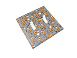 Cute Fox Double Light Switch Cover Plate...