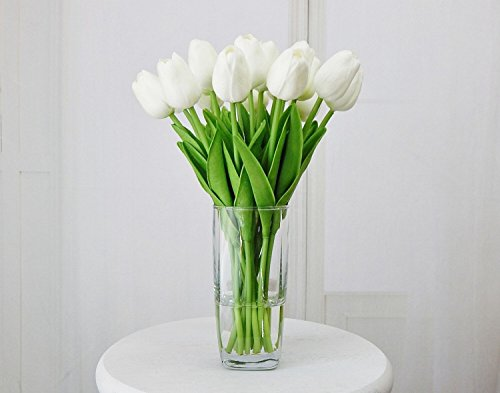 m Real Touch Latex Artificial Tulip flowers for spring arrangements, bouquets, and centerpieces (6 PCS) (Milky White) (Single Dummy Ribbon)
