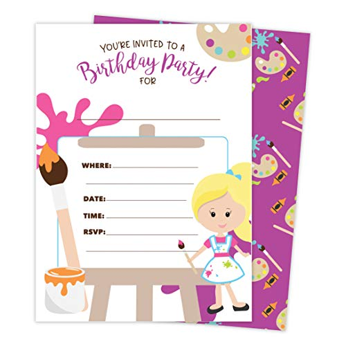 (Girls Painting 1 Happy Birthday Invitations Invite Cards (25 Count) With Envelopes and Seal Stickers Vinyl Girls Kids Party)