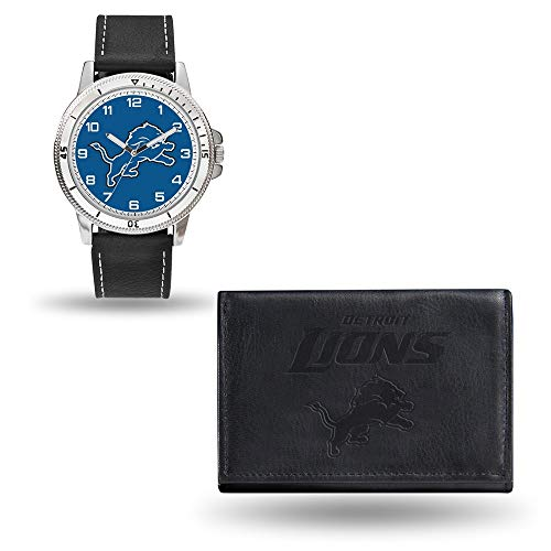 Rico NFL Men's Watch and Wallet Set WTWAWA2401, Detroit Lions