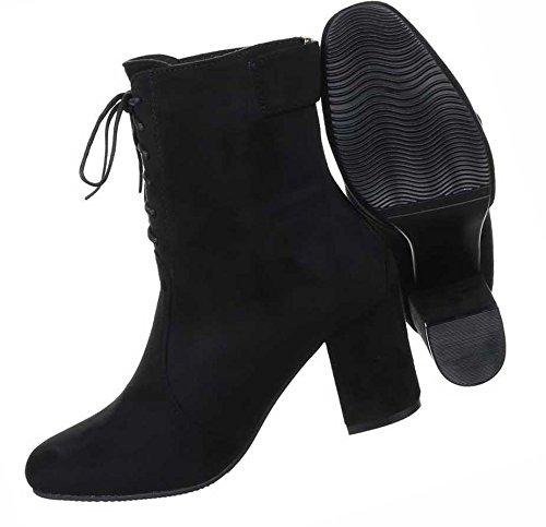 Damen Boots Schuhe Stiefeletten Mit Schnürung Schwarz Beige Grau 36 37 38 39 40 41 Schwarz
