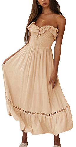 - BOCOTUBE Women's Off The Shoulder Dresses Summer Sleeveless Strapless Ruffle Cocktail Dress Apricot