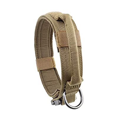 """Yunlep Adjustable Tactical Dog Collar Military Nylon Heavy Duty Metal Buckle with Control Handle for Dog Training,1.5"""" Width"""