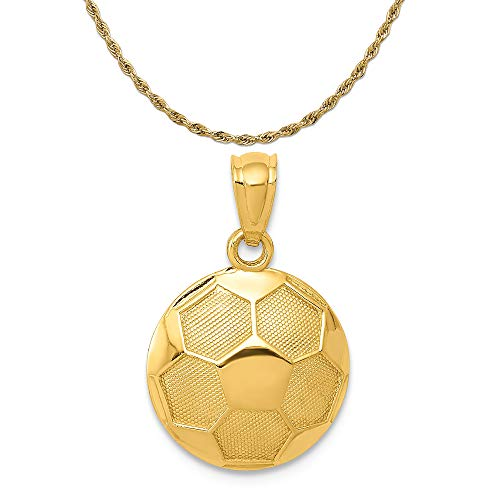 - Mireval 14k Yellow Gold Soccer Ball Pendant on a 14K Yellow Gold Rope Chain Necklace, 16