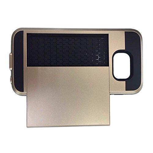 Telefon-Kasten - TOOGOO(R)Karte Tasche Stossfeste Duenne Hybrid Mappe Abdeckung fuer Samsung Galaxy S7 Golden