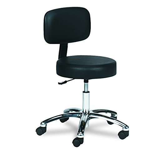 Safco Products 3430BL Lab Stool with Back, Pneumatic Lift, Black by Safco Products