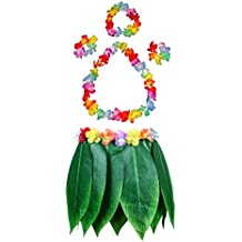 Fighting to Achieve Hawaiian Luau Green Leaf Skirts Costume Adult Grass Skirt with Flowers for Beach Dance Party Favors(5Pcs)