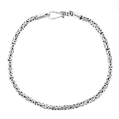 8 2.5mm Round Byzantine Handmade Bali Oxidized 925 Sterling Silver Bracelet Anklet