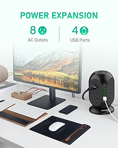 Power Strip Tower Surge Protector, EyGde Multi Plug Outlet with Long Extension Cord 10Ft, Surge Protection 8 AC Sockets 3.1A 4 USB Desk Charging Station for Home Office Dorm Room