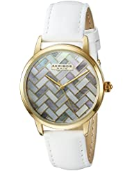 Akribos XXIV Womens Gold-Tone Mother-of-Pearl Mosaic Dial with White Glove Style Genuine Leather Strap Watch...