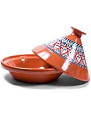 Kamsah Hand Made and Hand Painted Tagine Pot   Moroccan Ceramic Pots for Cooking and Stew Casserole Slow Cooker