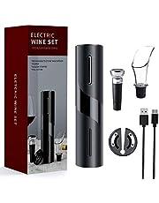 Mfshiye Elektrische kurkentrekker, 6 seconden automatische flesopener, draadloze wijnflesopener, set met wijnfoliesnijder & vacuüm stopper & geleverd USB-oplaadkabel (stijl 1)