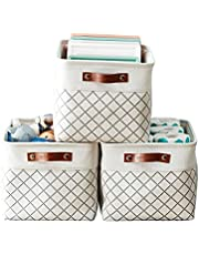 DECOMOMO Foldable Cube Storage Bin   Rugged Canvas Fabric Basket Container W/ Rope Handles   Great for Organizing Closets, Offices and Homes