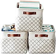 DECOMOMO Foldable Cube Storage Bin   Rugged Canvas Fabric Basket Container W/ Rope Handles   Great for Organiz