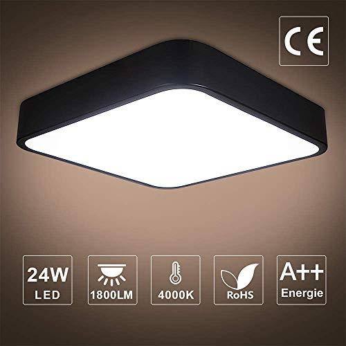Plafoniera LED 24W, bedee 1800LM Lampada da soffitto LED, 16LEDs Bianco Naturale 4000K per soggiorno Sala da pranzo Camera da letto Bagno Cucina Balcone Corridoio [Classe di efficienza energetica A++]