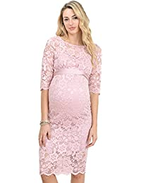 Womens Baby shower floral Lace Dress (Medium, Pink)