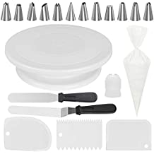 Kootek All-in-One Cake Decorating Supplies with Revolving Cake Turntable, 12 Cake Decorating Tips, 2 Icing Spatula, 3 Icing Smoother, 50 Disposable Pastry Bags and 1 Coupler Frosting Tool Baking Set