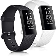 Tobfit Bands Compatible with Fitbit Charge 3 Bands / Fitbit Charge 4 Bands, Classic Sport Accessory Replacemen