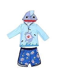 Zulaniu Baby Boys' Shark UV Two Piece Rash Guard Hoodie Sunsuit Swimsuit Swimwear