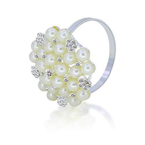 JulyLab Set of 6 Napkin Ring Pearl Beaded Diamante Rhinestone Crystal Napkin Holder Table Setting Wedding Décor, Silver