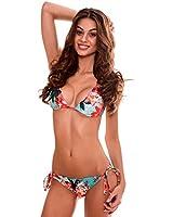 RELLECIGA Blue Floral Brazilian Bikini Triangle Top Wavy Sexy Teeny Swimsuit Size Medium